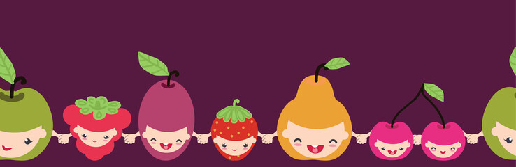 Vector happy fruit characters horizontal seamless pattern