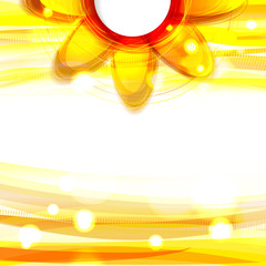 Abstract yellow shiny background with flower. Eps10