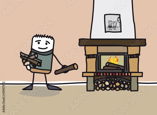 se chauffer au feu de chemin e chauffage fichier. Black Bedroom Furniture Sets. Home Design Ideas