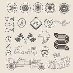Fototapete - Vector icons of vintage car racing