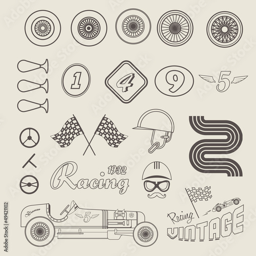 Wall mural Vector icons of vintage car racing