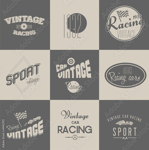 Wall mural Vintage car racing badges