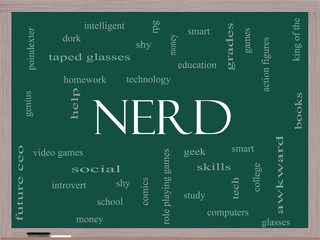 Nerd Word Cloud Concept on a Blackboard