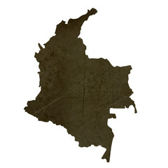 Dark silhouetted map of Columbia