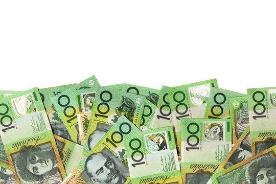 Australian Money Border over White