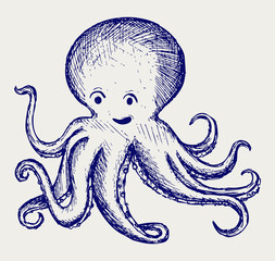 Tentacles octopus. Doodle style
