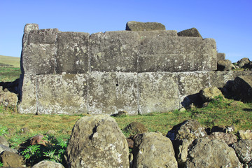 Ahu platform at the Easter Island, Chile.