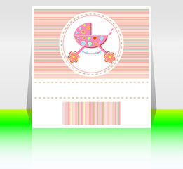 Babies girl pink invitation card - baby arrival