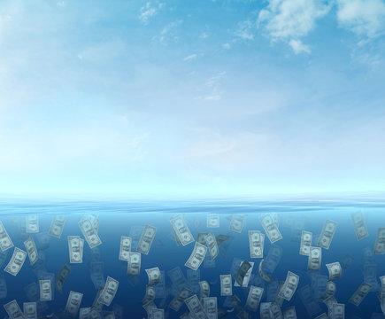 Money floating  in the sea