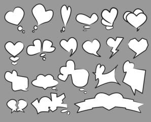 20 Heart text bubble set