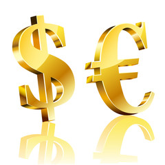 3D dolar and euro sign