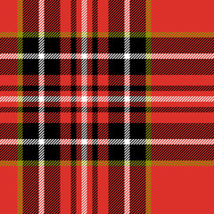 Red black and white tartan fabric seamless pattern, vector