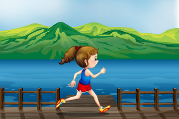 A girl running at the port