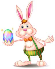 A rabbit holding an easter egg