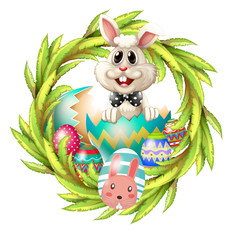An easter design with a bunny, eggs and leafy plant