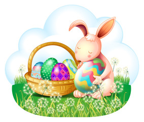 A bunny and a basket full of easter eggs