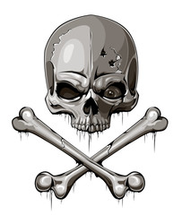 Decrepit skull with two crossed bones isolated on white