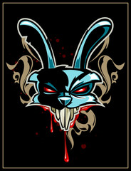 Rabbit head with pattern on black background