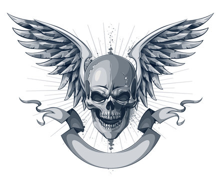 Skull with wings and ribbon