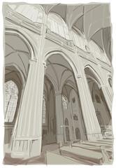 Interior of St. Vitus Cathedral in Prague
