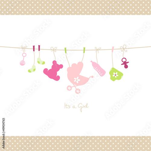 quotbaby girl hanging symbols dots borderquot stockfotos und