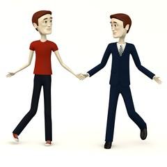 3d render of cartoon characters dance