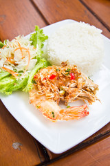 Spicy shrimp fried with jasmine rice