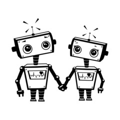 Robots in love, illustration