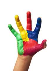 child hands painted with watercolors