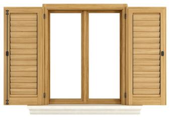Wooden window with open shutter