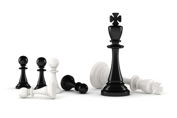 3d chess figures on white background