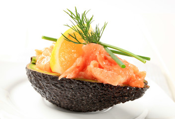 Fresh avocado and salmon tartare