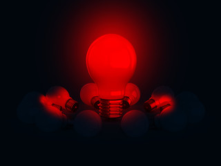 Red Glowing Light Bulb on Dark