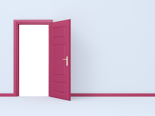 Pink Opened Door in Gray Wall
