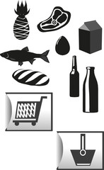supermarket set icons vector