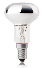 Halogen bulb isolated on white with clipping path