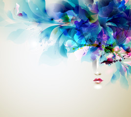 Zelfklevend Fotobehang Bloemen vrouw Beautiful abstract women with abstract design elements