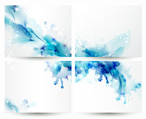 Fototapete - Brochure backgrounds with Abstract blue elements