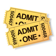 pair of yellow cinema tickets