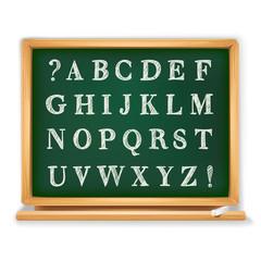 abc set written on school board