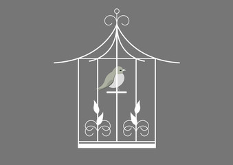 Printed roller blinds Birds in cages Cage oiseau - fond gris