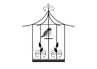 Printed roller blinds Birds in cages Cage oiseau -