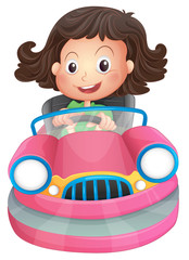 A young girl riding on a pink bumpcar
