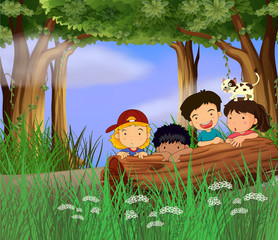 Deurstickers Katten Four childrens playing in the forest