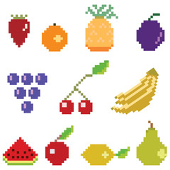 Zelfklevend Fotobehang Pixel Pixel fruit collection
