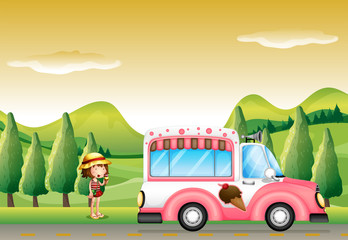 A pink ice cream bus and the little girl