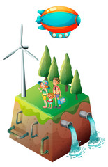 A family near a windmill