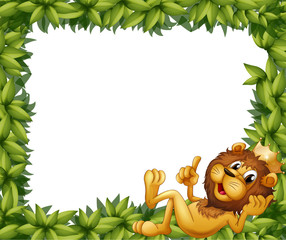 A lion with a crown in a leafy frame