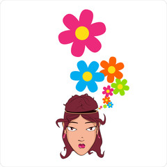 Beautiful girl head with flowers. Vector illustration.