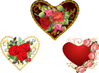 three hearts with red rose flowers